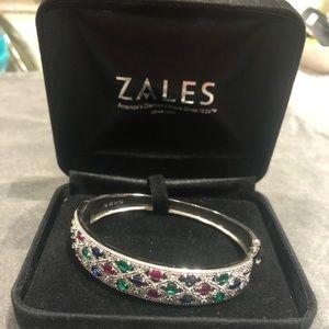 Zales diamond and gemstone bangle bracelet